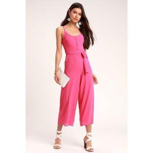 lulu's pink wide legged jumpsuit
